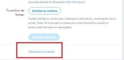 desactivar tu cuenta de twitter